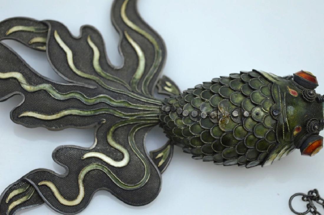 Large Chinese Silver Wire & Enamel Goldfish - 3
