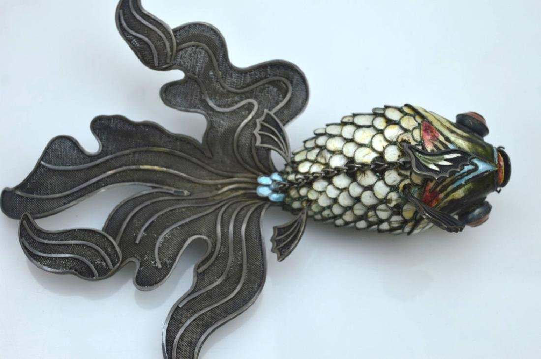 Large Chinese Silver Wire & Enamel Goldfish - 4
