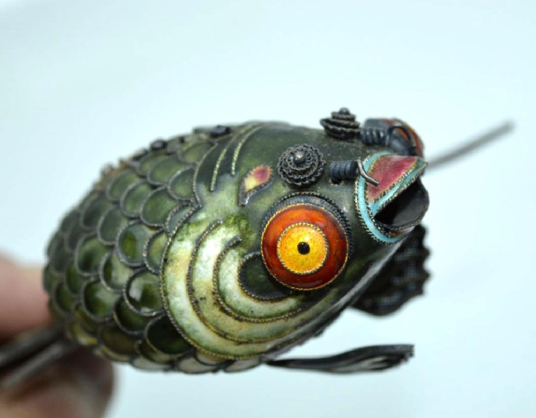 Large Chinese Silver Wire & Enamel Goldfish - 5