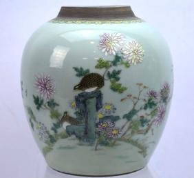 18th C Chinese Famille Rose Celadon Porcelain Jar