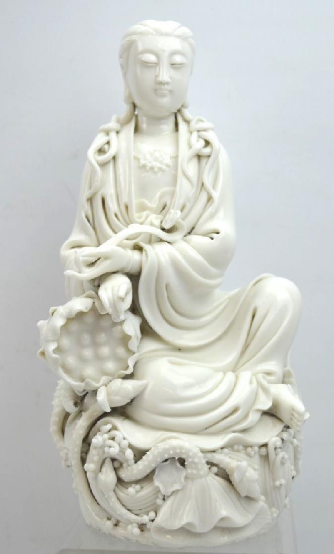 Fine Chinese Blanc de Chine Porcelain Guanyin