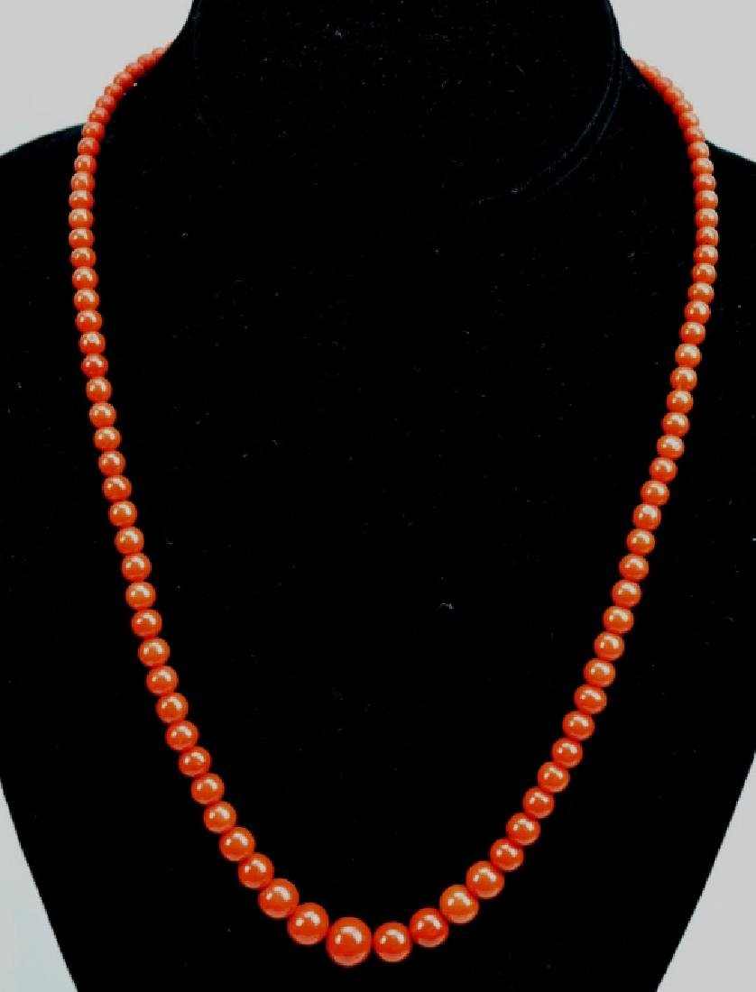 26.5 Grams; Fine Dark Coral Round Bead Necklace