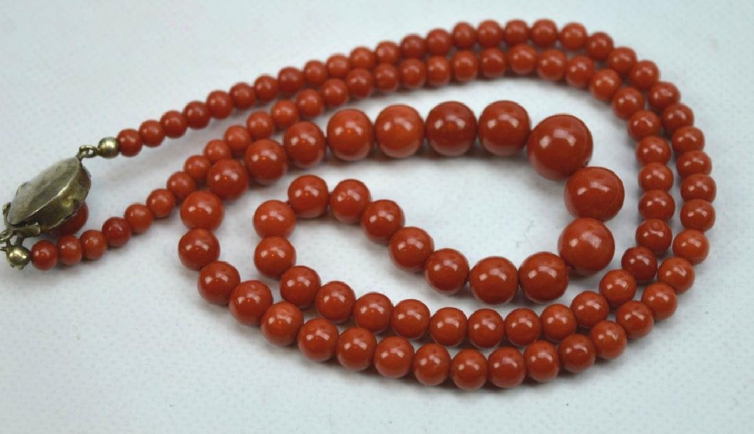 26.5 Grams; Fine Dark Coral Round Bead Necklace - 3