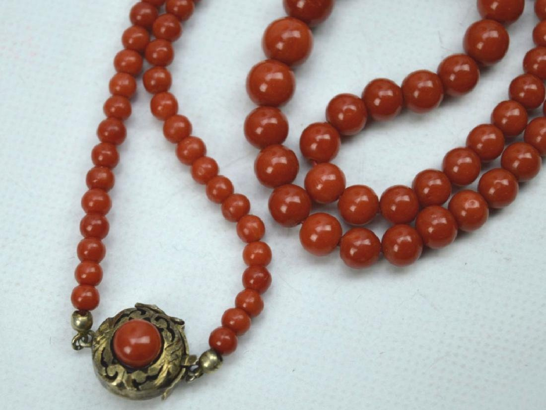 26.5 Grams; Fine Dark Coral Round Bead Necklace - 4
