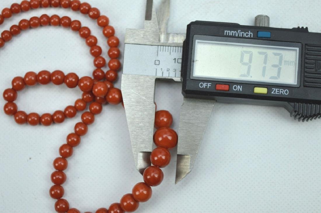 26.5 Grams; Fine Dark Coral Round Bead Necklace - 5
