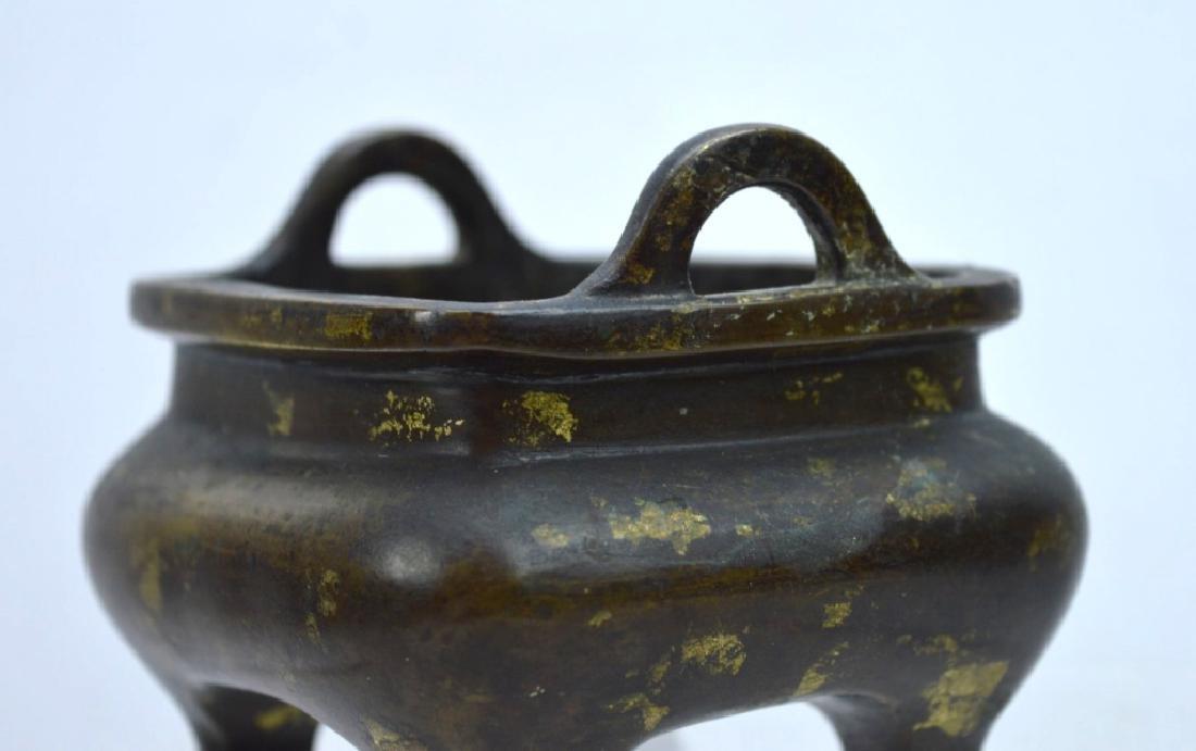 Antique Chinese Bronze Gold Splashed Censer - 3
