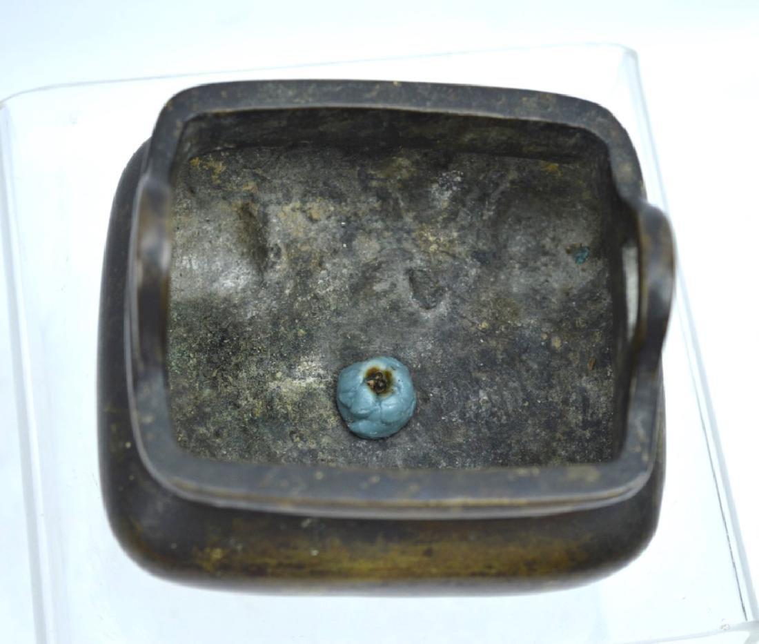 Antique Chinese Bronze Gold Splashed Censer - 4