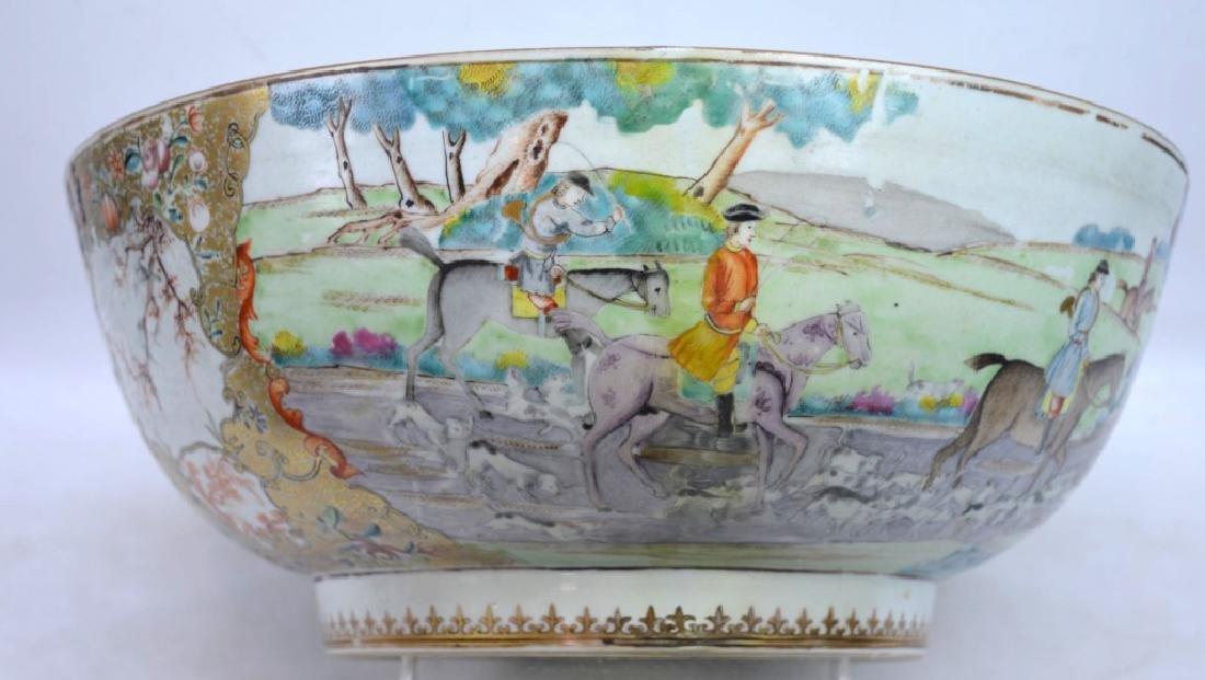 "Lg 18th C Chinese Porcelain ""Fox Hunt"" Punch Bowl"