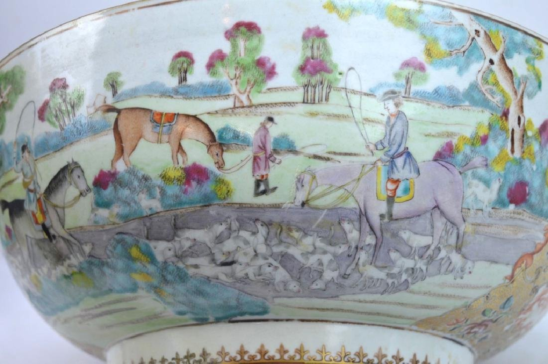 "Lg 18th C Chinese Porcelain ""Fox Hunt"" Punch Bowl - 5"