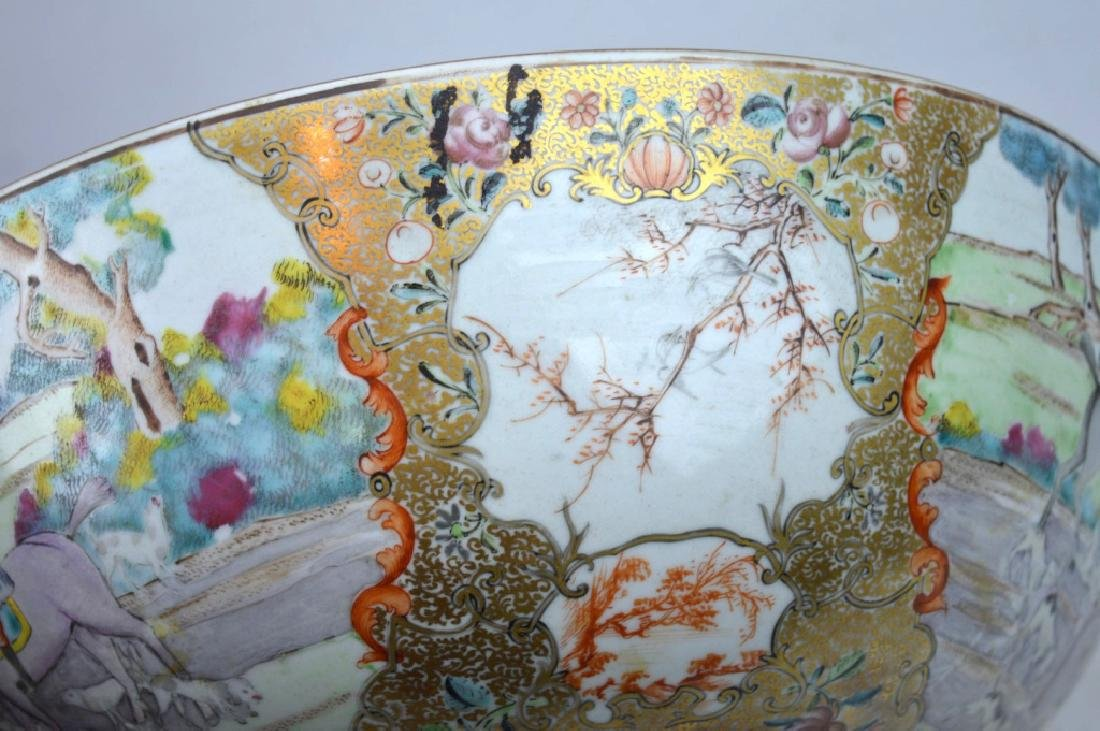 "Lg 18th C Chinese Porcelain ""Fox Hunt"" Punch Bowl - 6"
