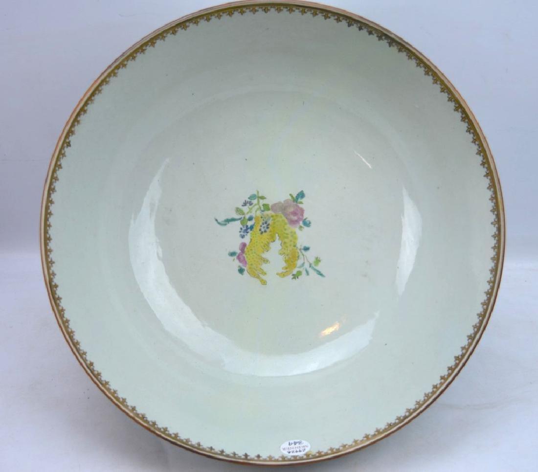 "Lg 18th C Chinese Porcelain ""Fox Hunt"" Punch Bowl - 7"