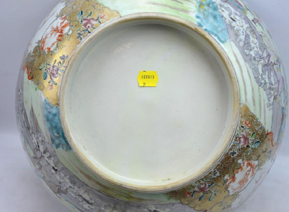 "Lg 18th C Chinese Porcelain ""Fox Hunt"" Punch Bowl - 8"