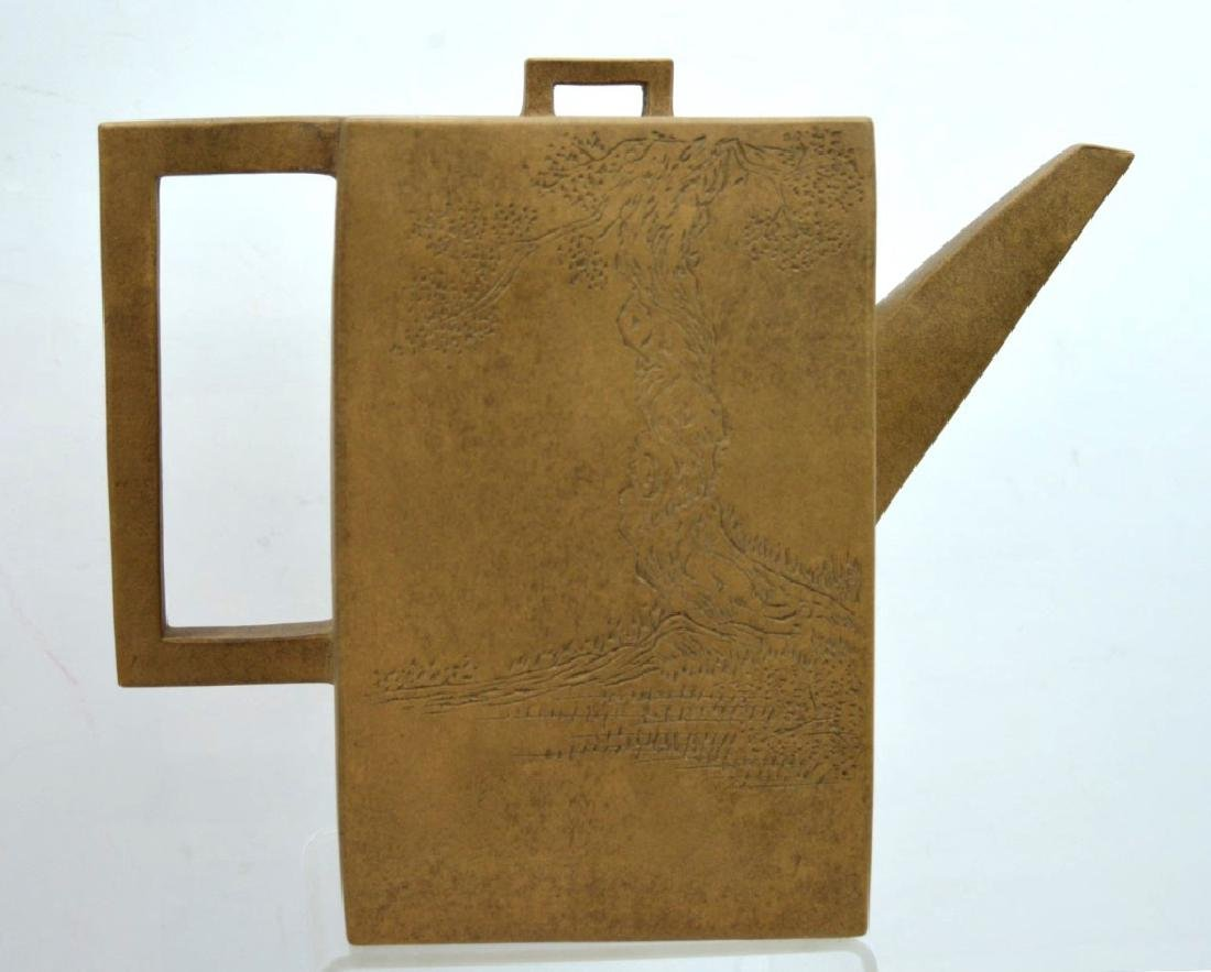Large Chinese Light-Clay Yixing Rectangular Teapot