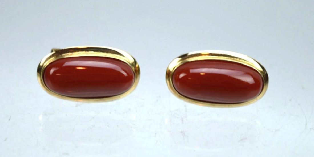 Pair Aka Dark Coral Cabochons in 14K Earrings