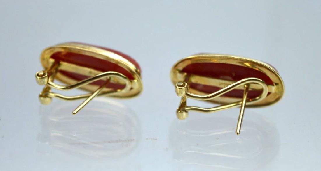 Pair Aka Dark Coral Cabochons in 14K Earrings - 4