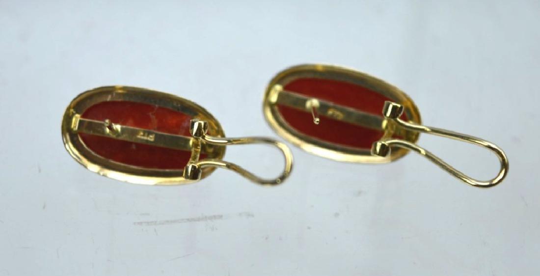 Pair Aka Dark Coral Cabochons in 14K Earrings - 5