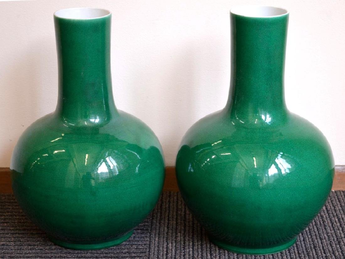 Large Pair Chinese Green Crackle Porcelain Vases