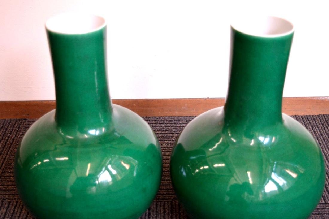 Large Pair Chinese Green Crackle Porcelain Vases - 6