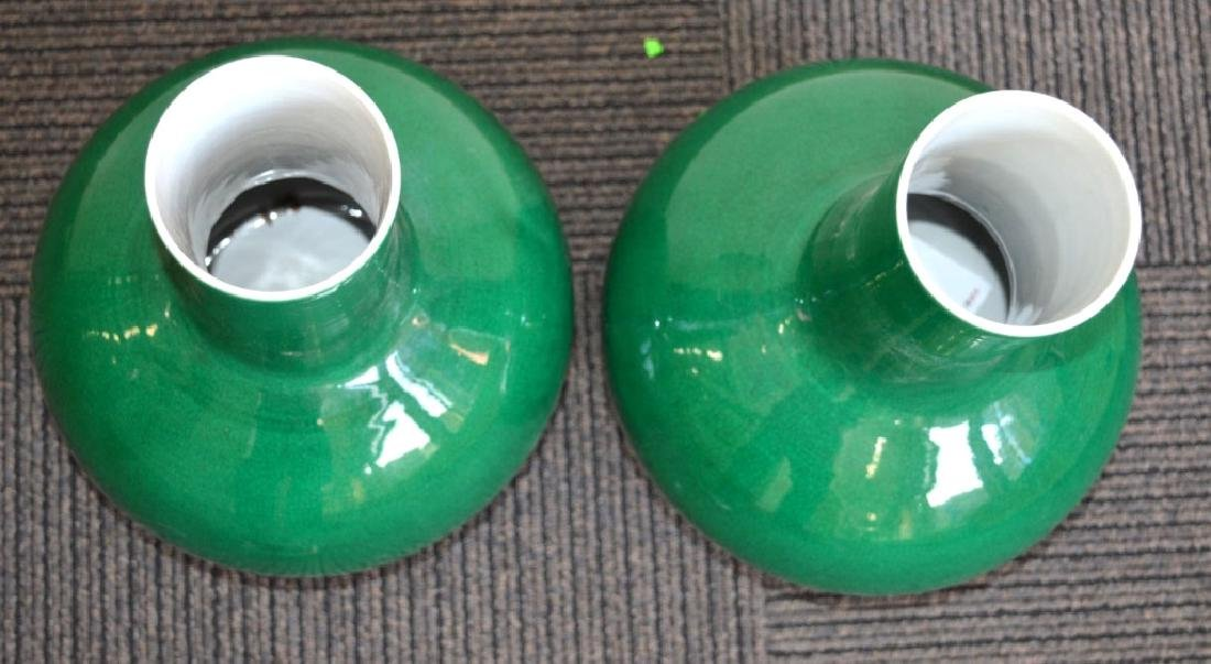 Large Pair Chinese Green Crackle Porcelain Vases - 7