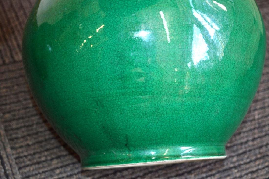 Large Pair Chinese Green Crackle Porcelain Vases - 8
