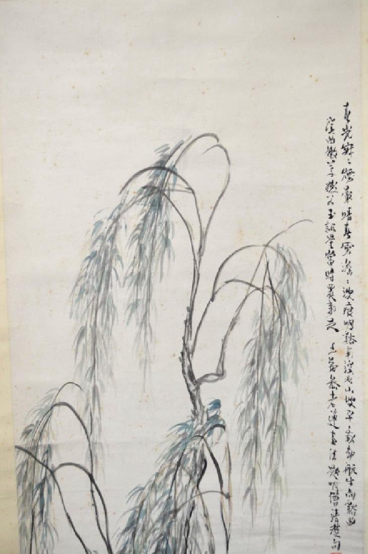 Lg Chinese Ink Painting on Paper Hanging Scroll - 3