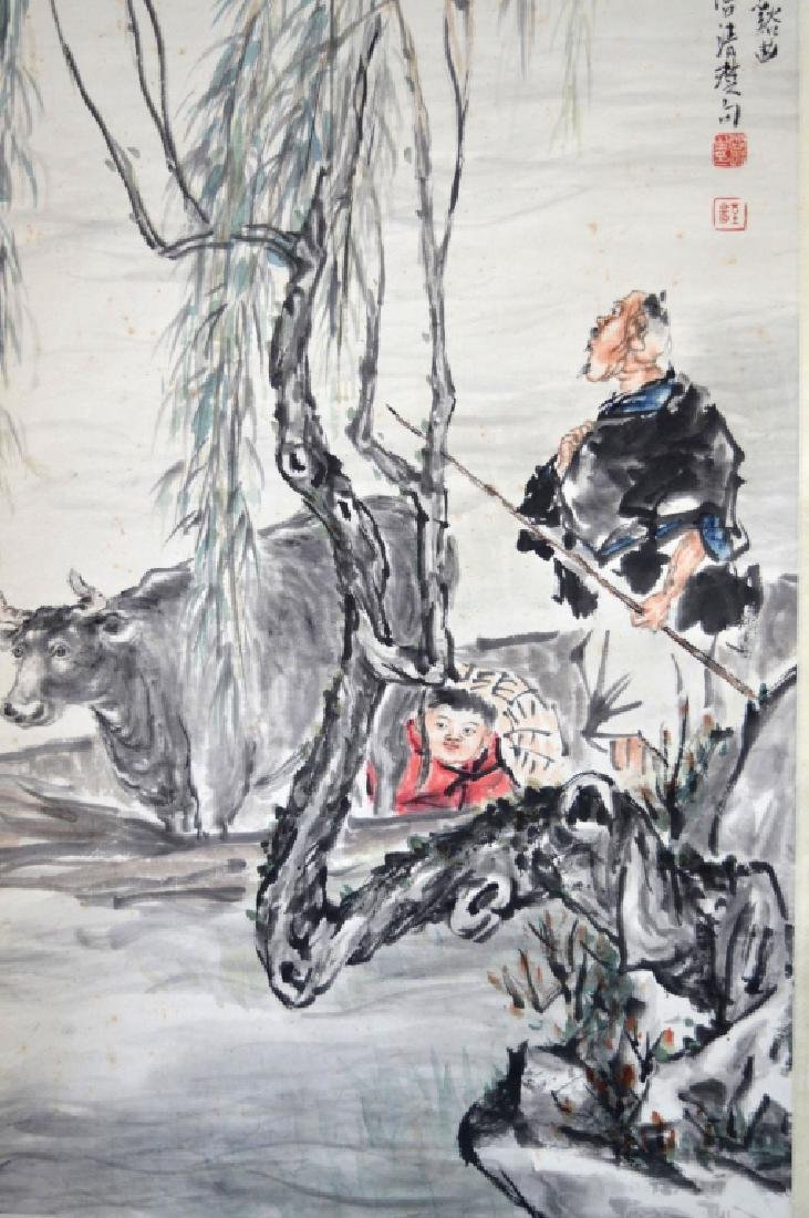 Lg Chinese Ink Painting on Paper Hanging Scroll - 5