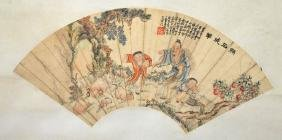 Chinese Mounted Fan Painting; Ink & Color on Paper