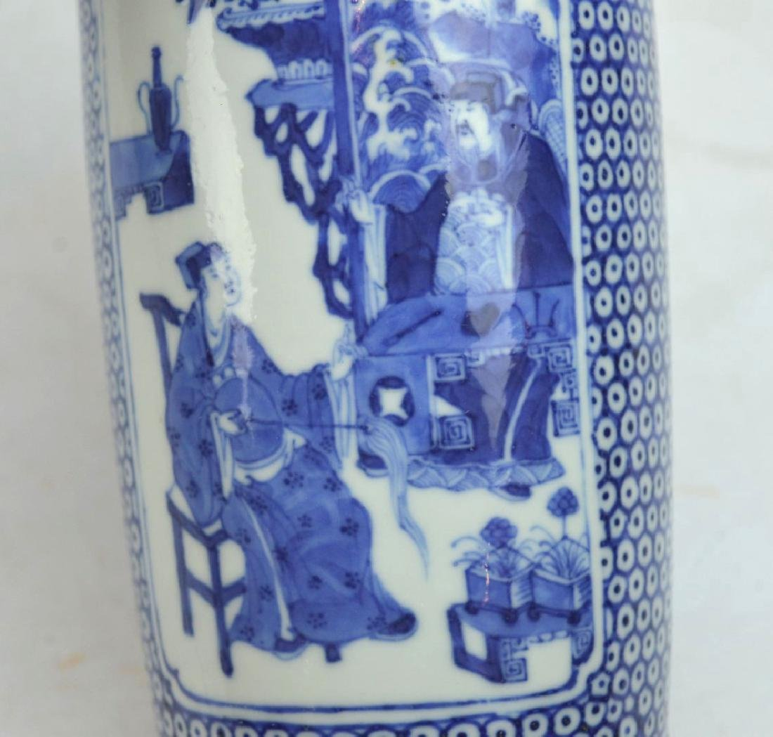 Chinese Underglaze B & W Porcelain Small Vase - 7