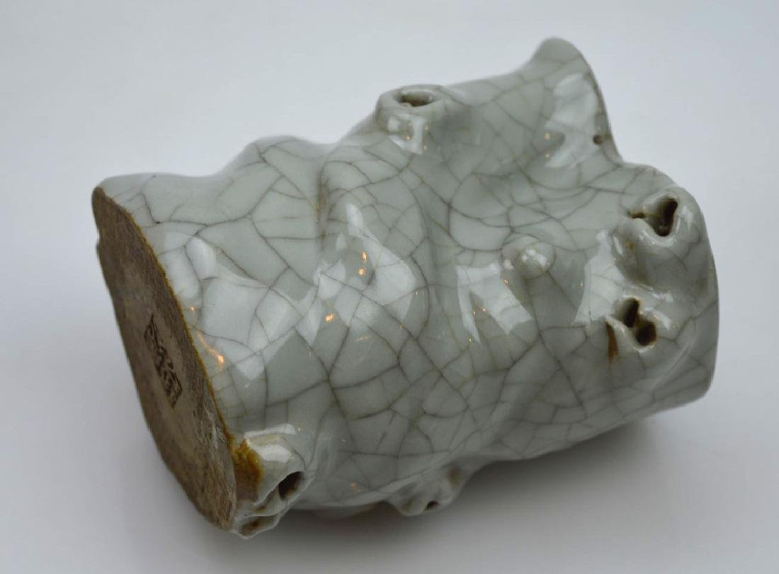 Chinese Crackle Glazed Celadon Tree-Shape Brushpot - 5