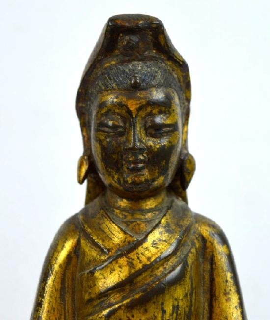 Ming Dynasty Chinese Gilt Bronze Guanyin Figure - 2
