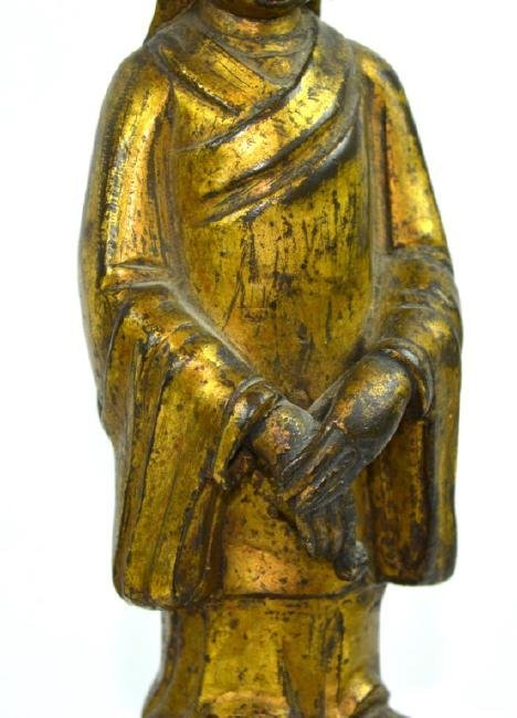 Ming Dynasty Chinese Gilt Bronze Guanyin Figure - 3