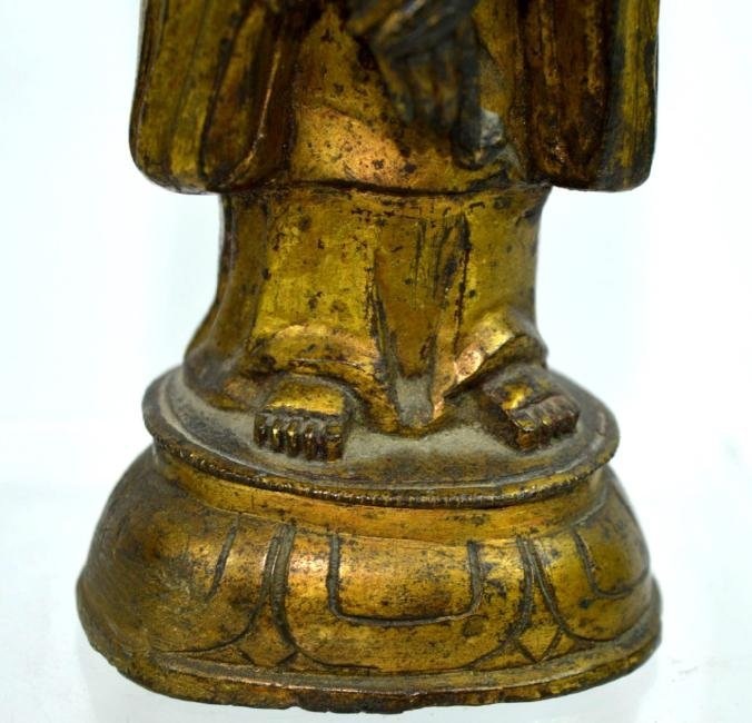 Ming Dynasty Chinese Gilt Bronze Guanyin Figure - 4