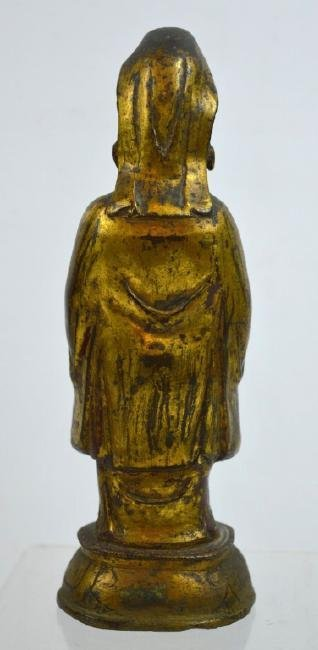 Ming Dynasty Chinese Gilt Bronze Guanyin Figure - 6