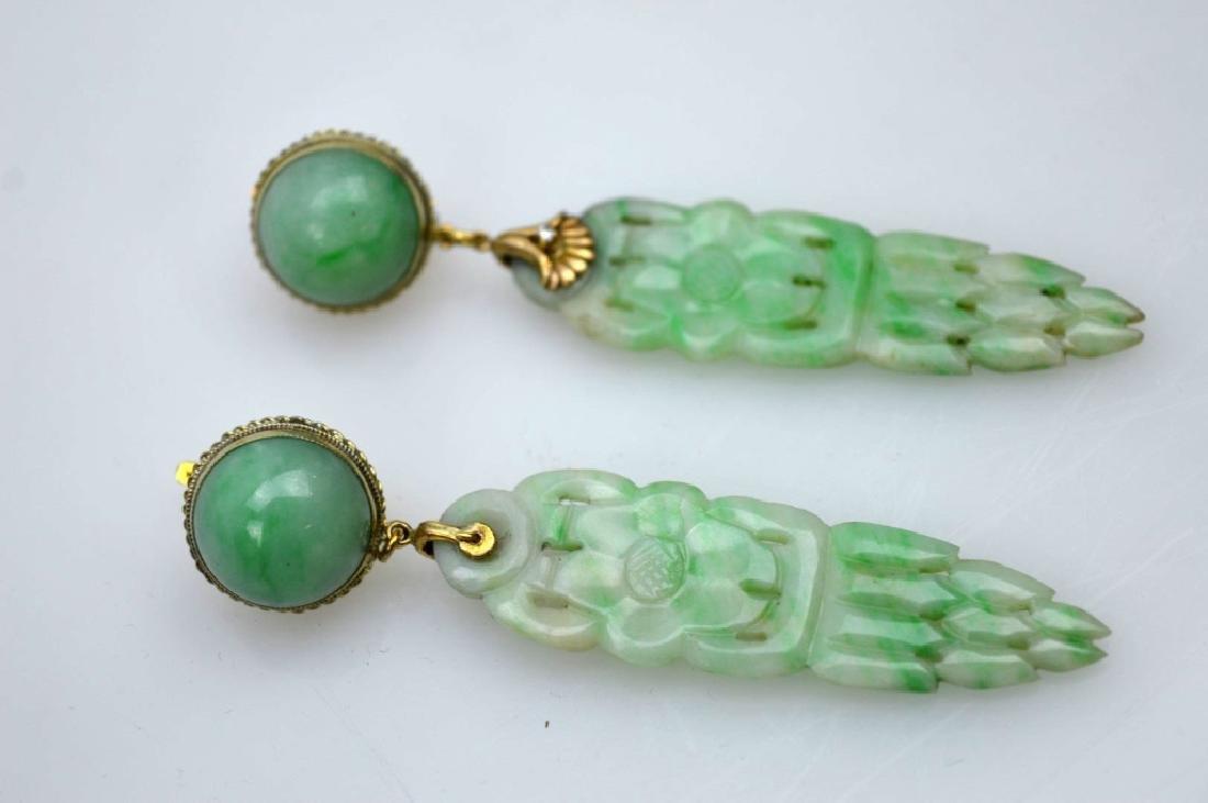 Pair Chinese Apple Green Jadeite Drop Earrings
