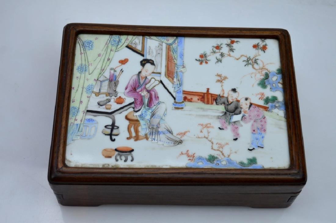 Chinese 19C Enameled Porcelain Plaque in Wood Box