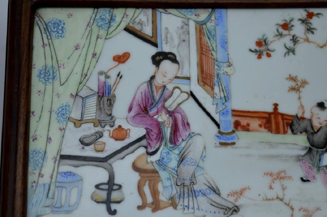 Chinese 19C Enameled Porcelain Plaque in Wood Box - 2
