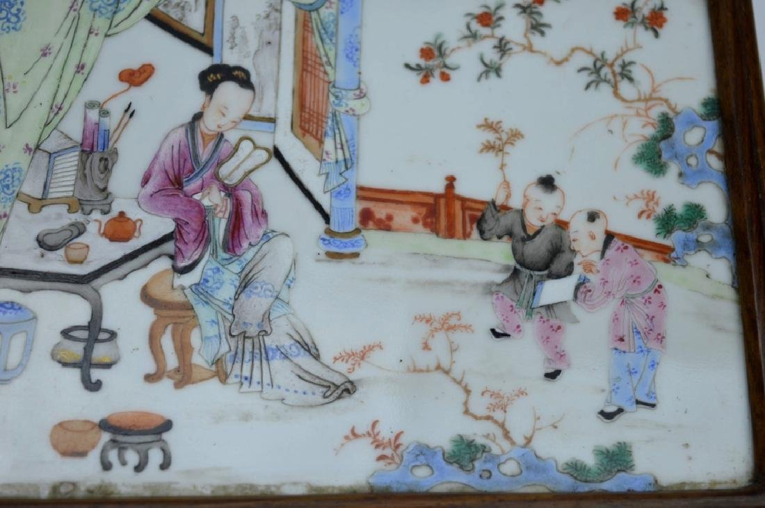 Chinese 19C Enameled Porcelain Plaque in Wood Box - 3
