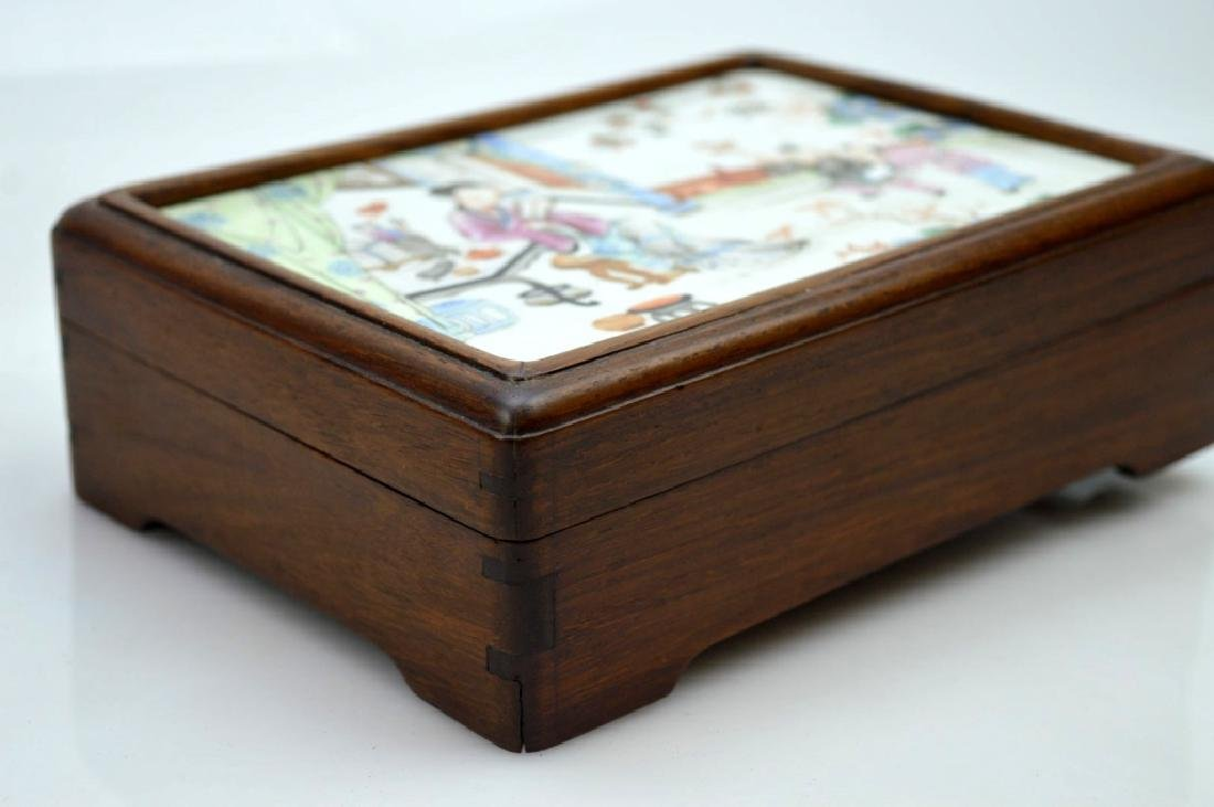 Chinese 19C Enameled Porcelain Plaque in Wood Box - 4