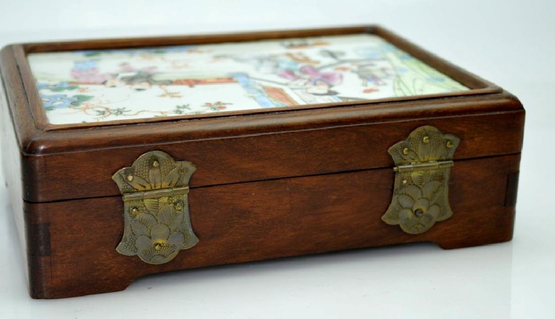 Chinese 19C Enameled Porcelain Plaque in Wood Box - 5