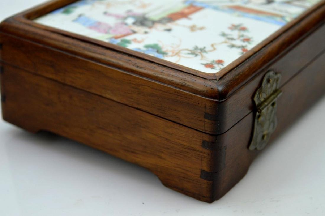 Chinese 19C Enameled Porcelain Plaque in Wood Box - 7