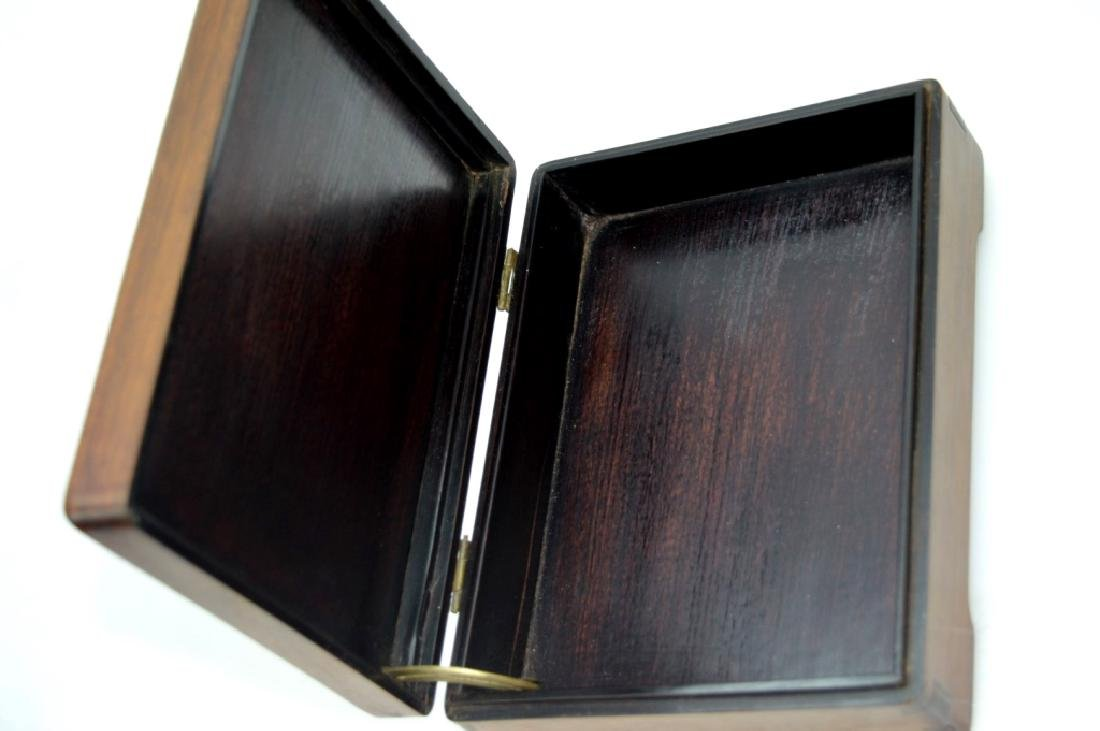 Chinese 19C Enameled Porcelain Plaque in Wood Box - 8