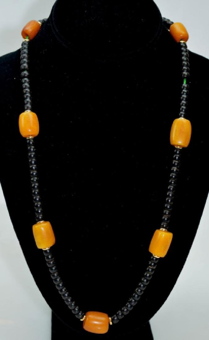 Tibetan Butterscotch Amber & Nut Bead Necklace