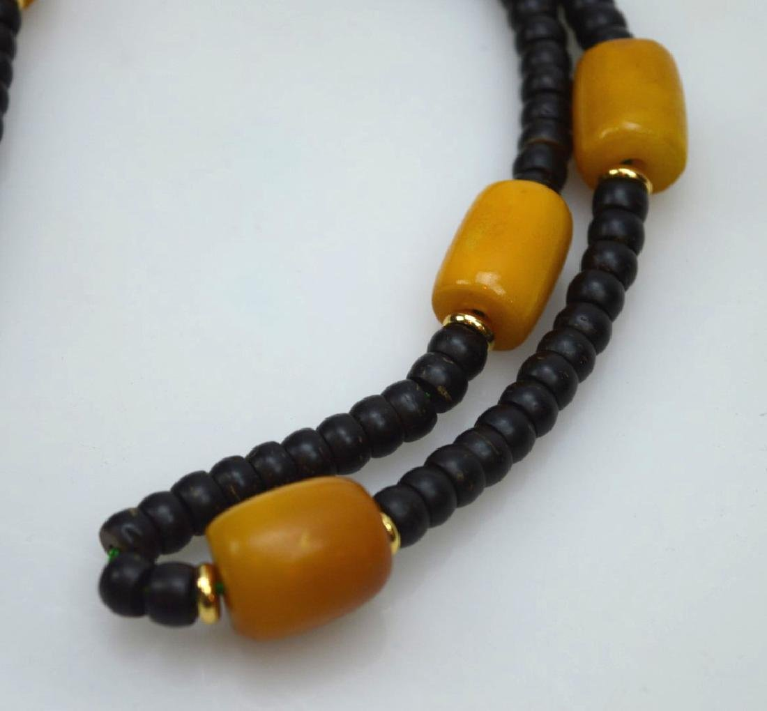 Tibetan Butterscotch Amber & Nut Bead Necklace - 2