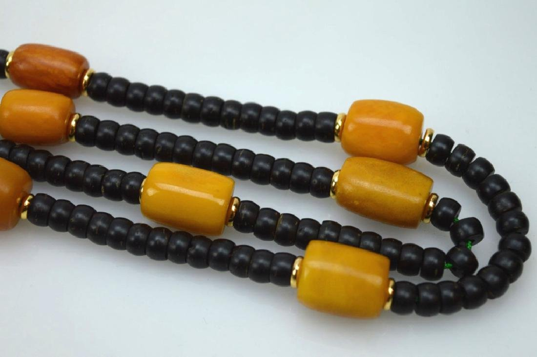 Tibetan Butterscotch Amber & Nut Bead Necklace - 3