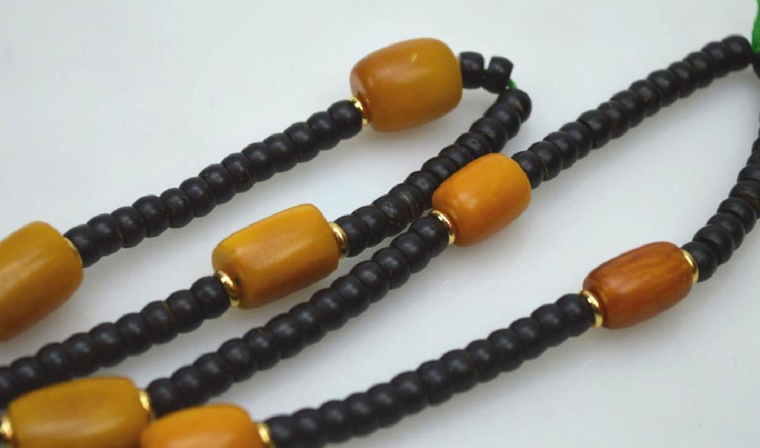 Tibetan Butterscotch Amber & Nut Bead Necklace - 4