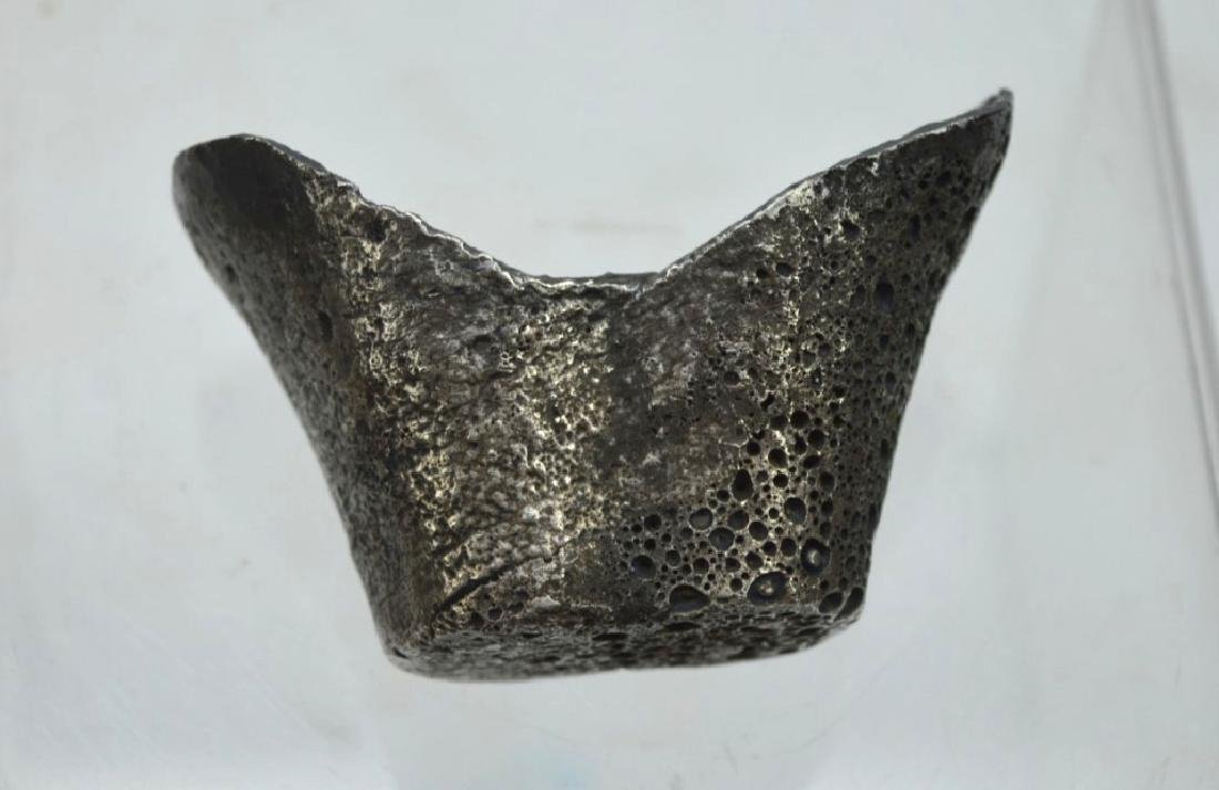 Antique Chinese Solid Silver Boat-Shaped Ingot - 2