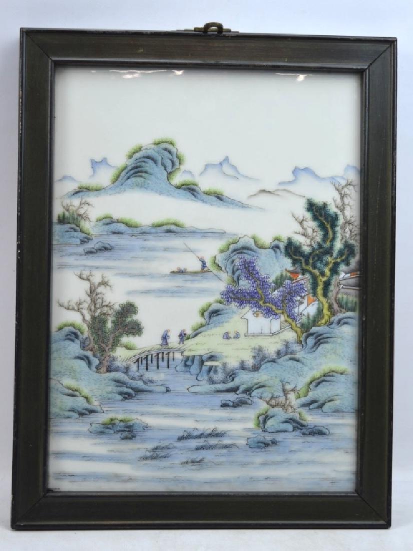 Good Chinese Enameled Porcelain Landscape Plaque
