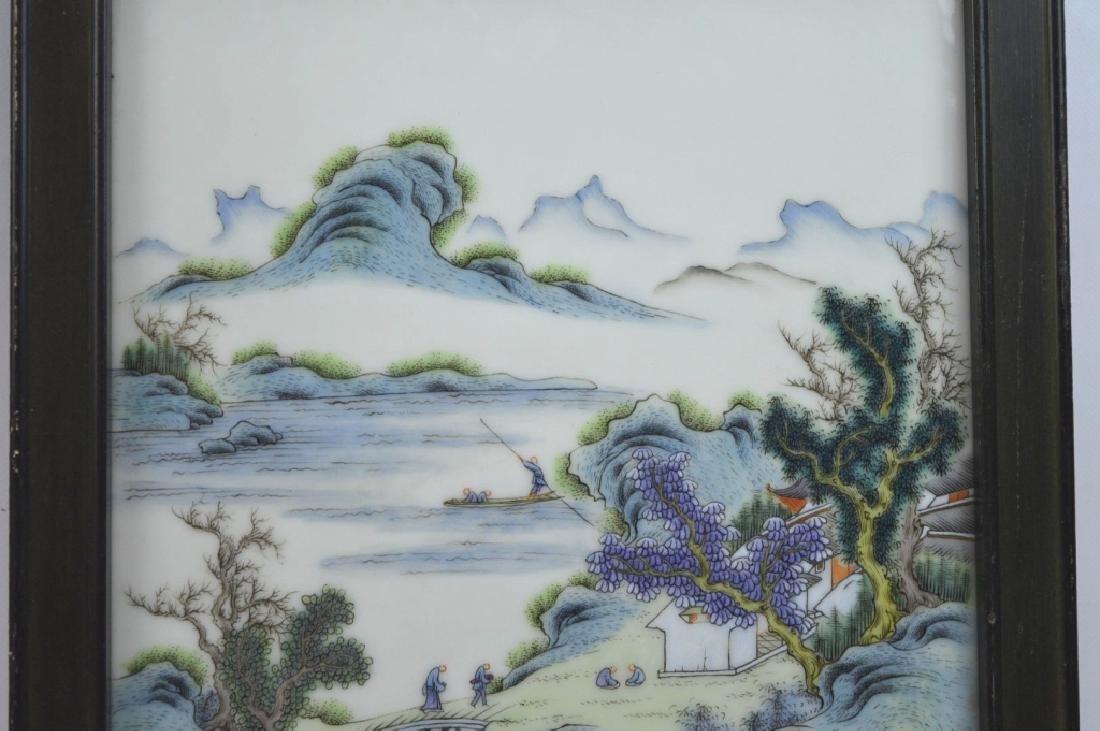 Good Chinese Enameled Porcelain Landscape Plaque - 2