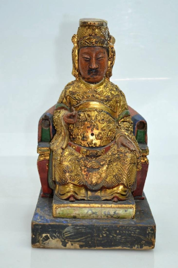 Qing Dynasty Chinese Gilt Lacquer & Wood House God
