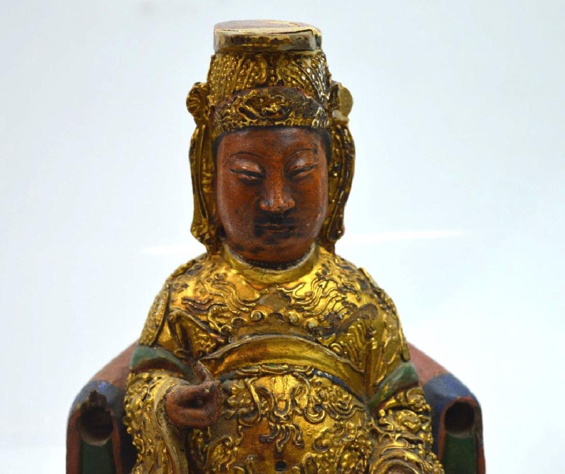Qing Dynasty Chinese Gilt Lacquer & Wood House God - 2